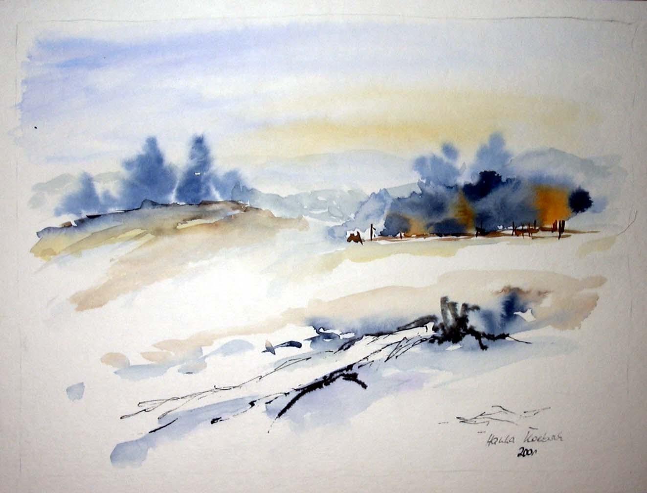 Winter aquarell von hanka koebsch - Aquarell weihnachten ...