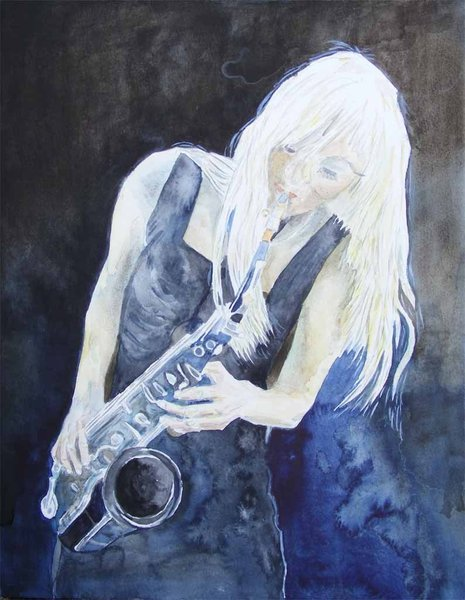 Jazz in blue © Aquarell von Frank Koebsch